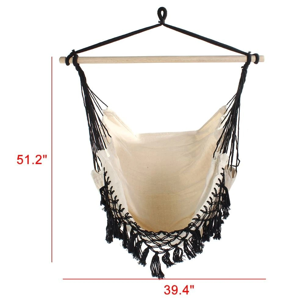130x x100 x100cm Nordic style Home Garden Hanging Hammock Chair Outdoor Indoor Dormitory Swing Hanging Chair with Wooden Black & white & gray - 6