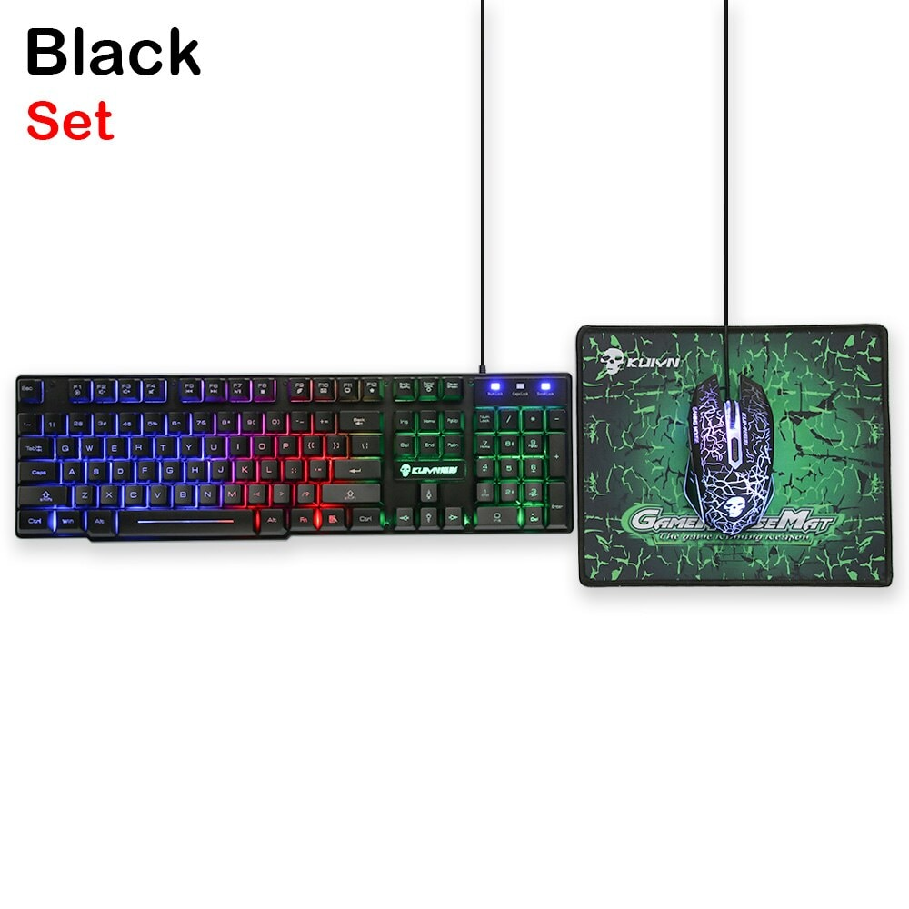 3in1 T6 Rainbow Backlit Keyboard Mouse PAD Set For PC PS4 PS3 Xbox One Black - 1