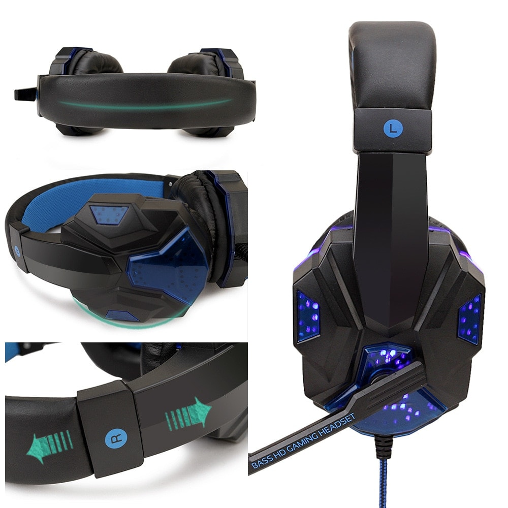 Adjustable Gaming Headset For SONY Playstation/Xbox/NS/PC with Noise Cancelling and Mic Auriculares Blue - 2