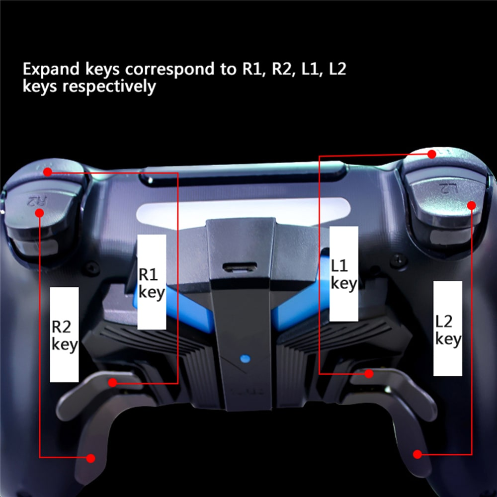 For PS4 Slim/Pro Controller Gamepad Back Expansion Button FPS Mapping Key Adapter Turbo MODS Elite Paddies - 4