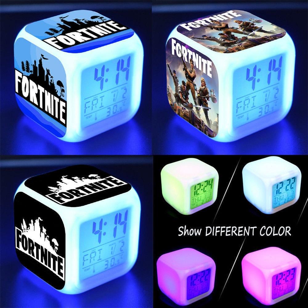 Fortnite Game Figures Color Changing Night Light Alarm Clock Kids Toy Gift - 5