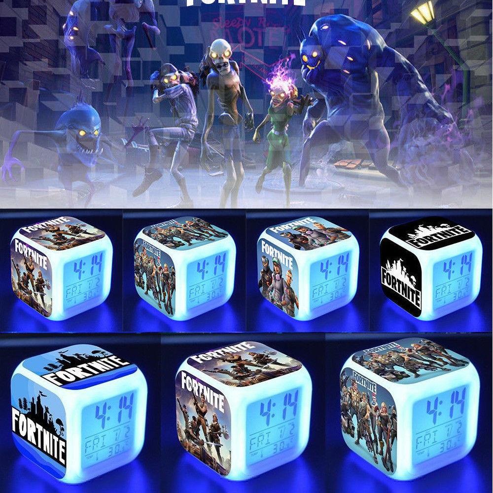 Fortnite Game Figures Color Changing Night Light Alarm Clock Kids Toy Gift - 4