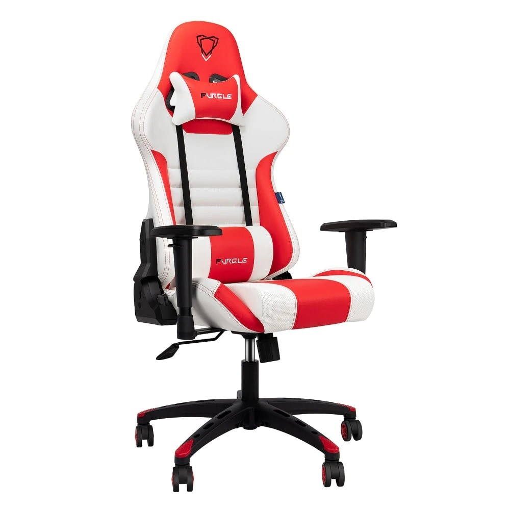 FURGLE ADJUSTABLE GAMING CHAIR Gaming Chair Black & white & red Gaming - 1