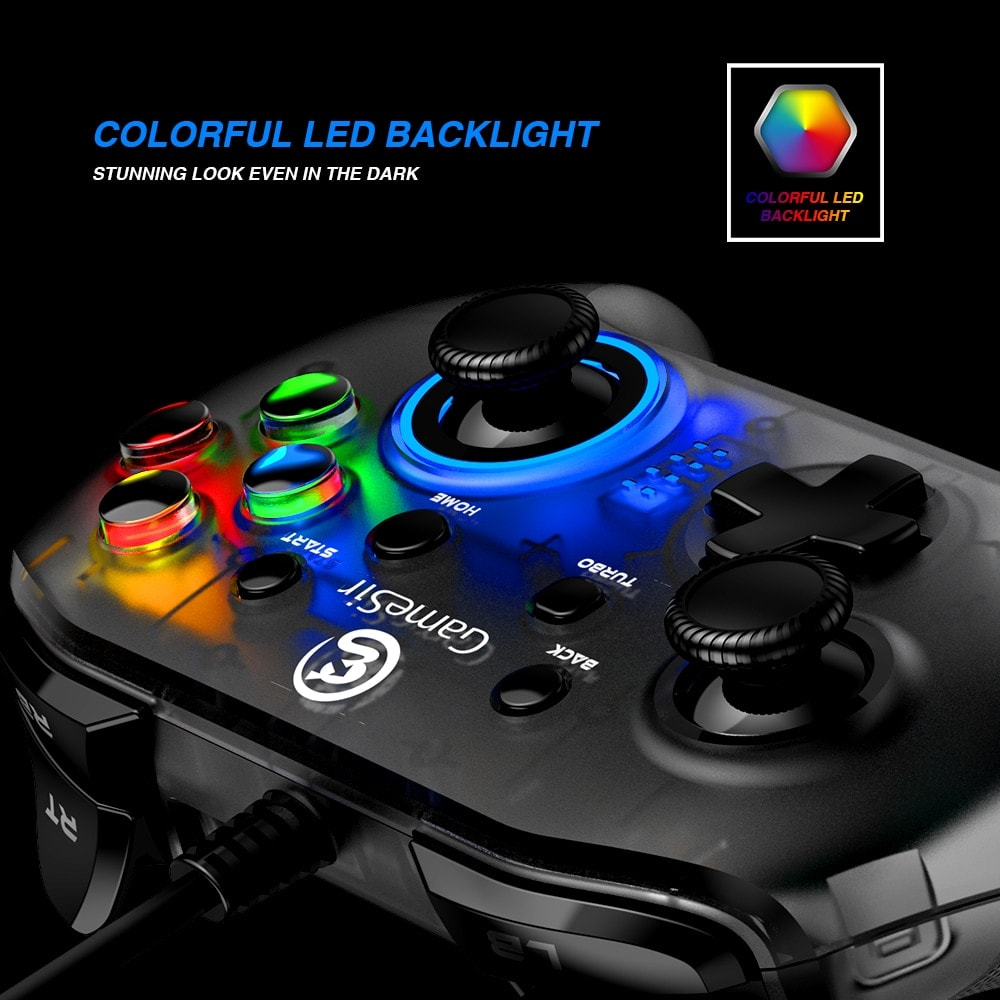 Gaming Controller with Vibration and Turbo Joystick Function for PC/Laptop Black - 6