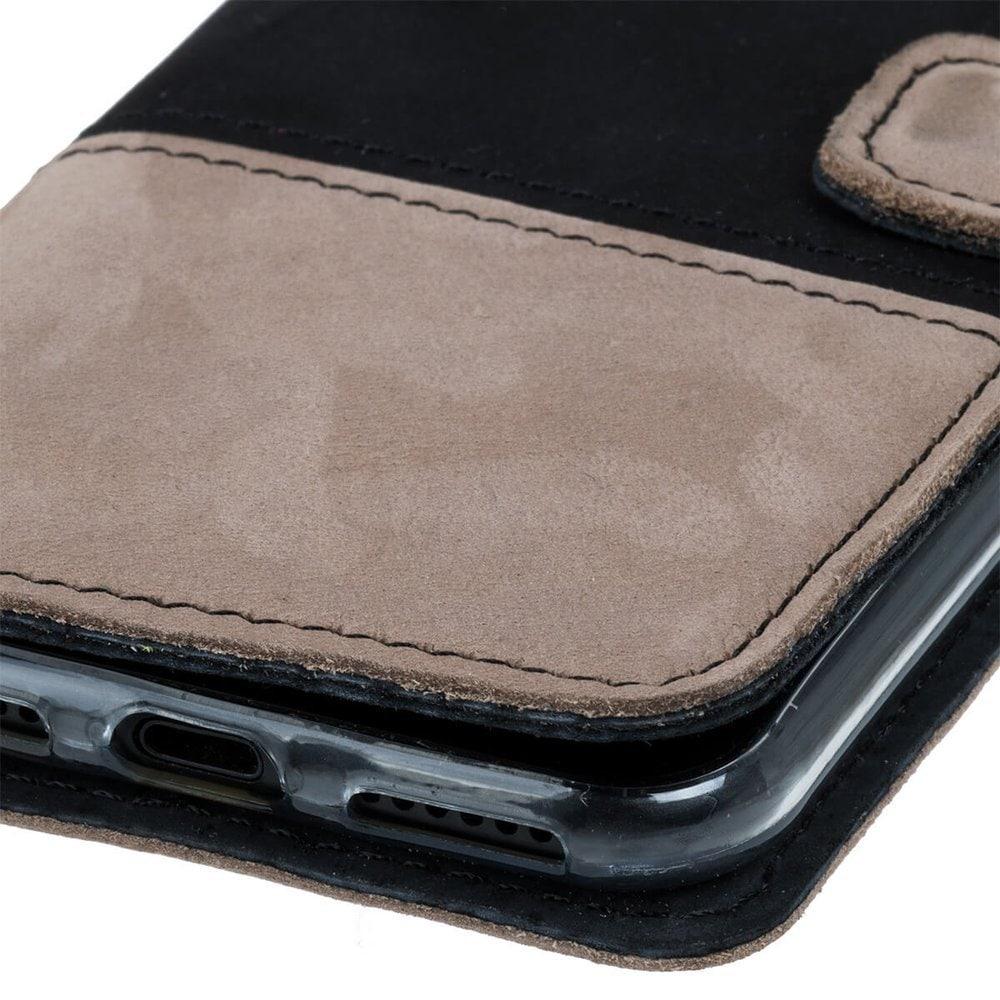 Google Pixel 5- Surazo® Phone Case Genuine Leather- Black and Beige - 5
