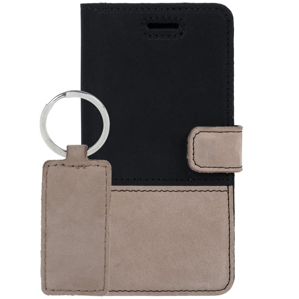 Google Pixel 5- Surazo® Phone Case Genuine Leather- Black and Beige - 8