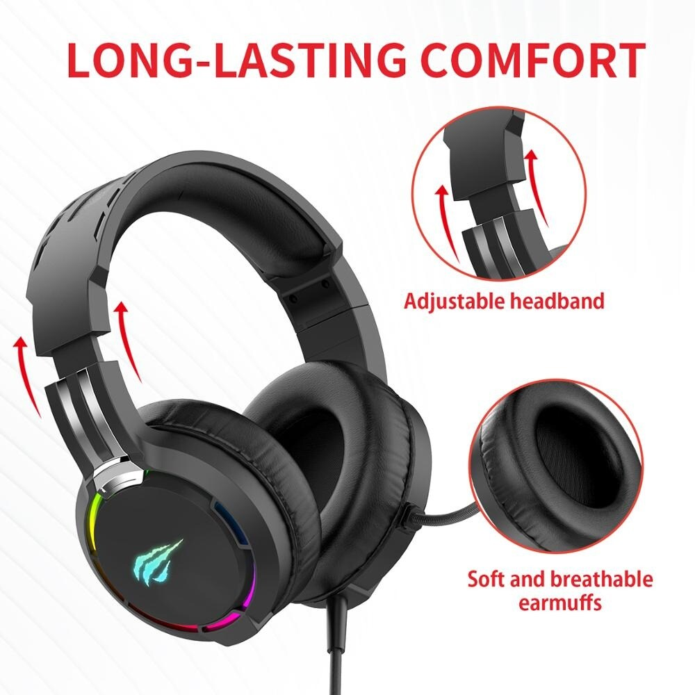 Havit Professional RGB Headset With Mic Switch for Computer, PS4, Xbox, phone Black - 2