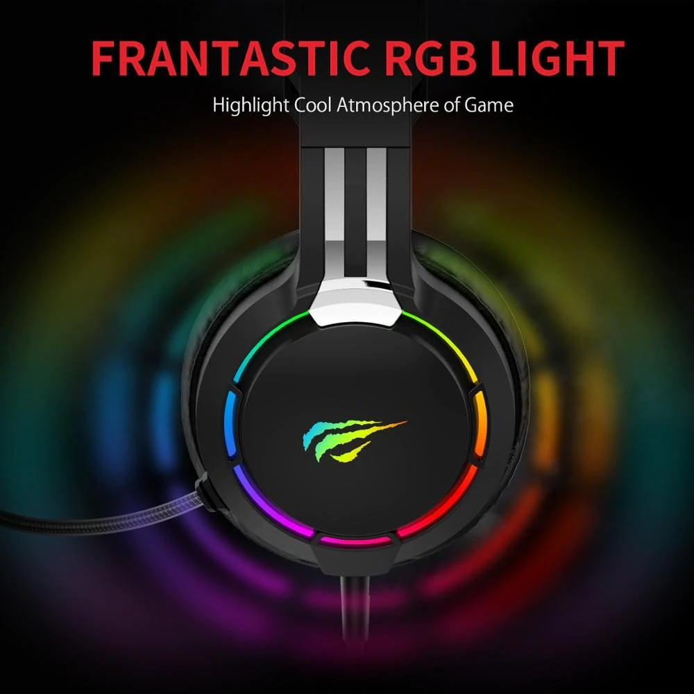 Havit Professional RGB Headset With Mic Switch for Computer, PS4, Xbox, phone Black - 6