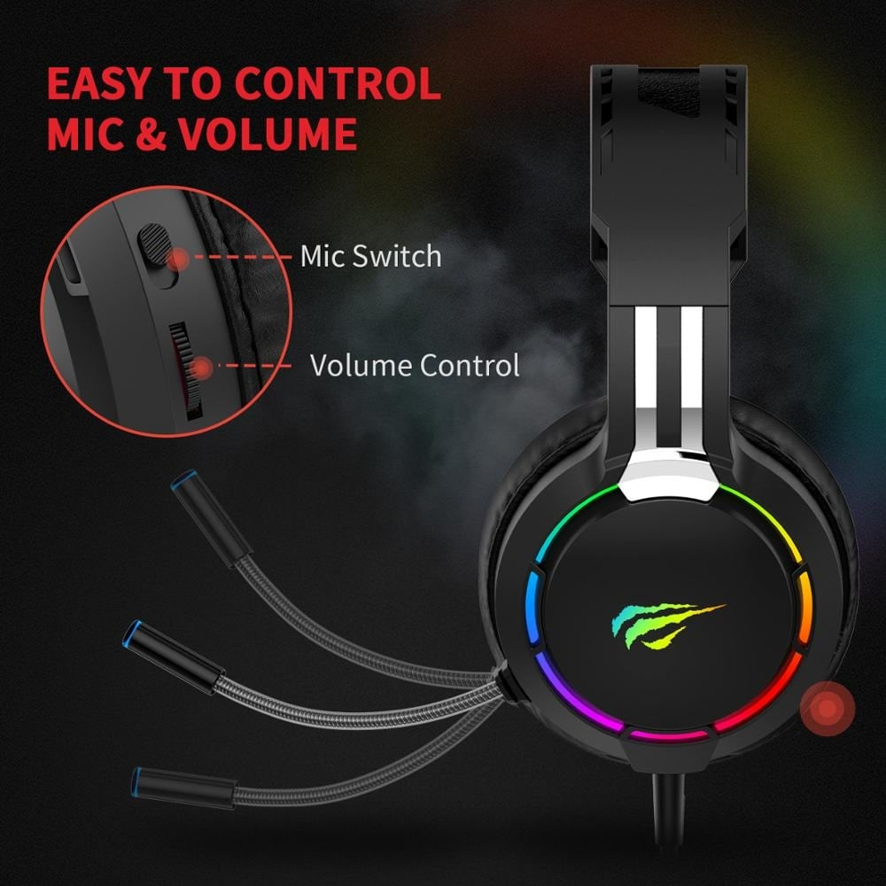 Havit Professional RGB Headset With Mic Switch for Computer, PS4, Xbox, phone Black - 5
