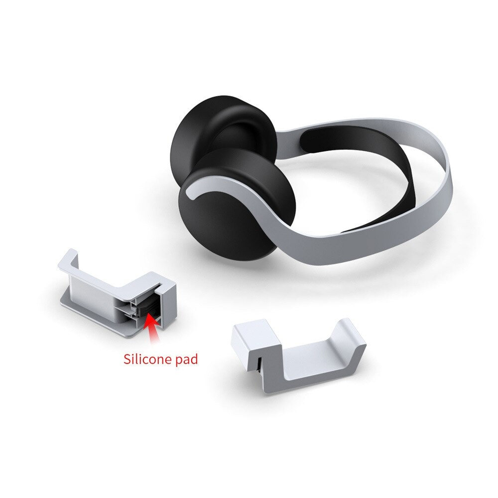 Headset Rack Holder for PlayStation5 with Gift 2 Controller Grips White - 6