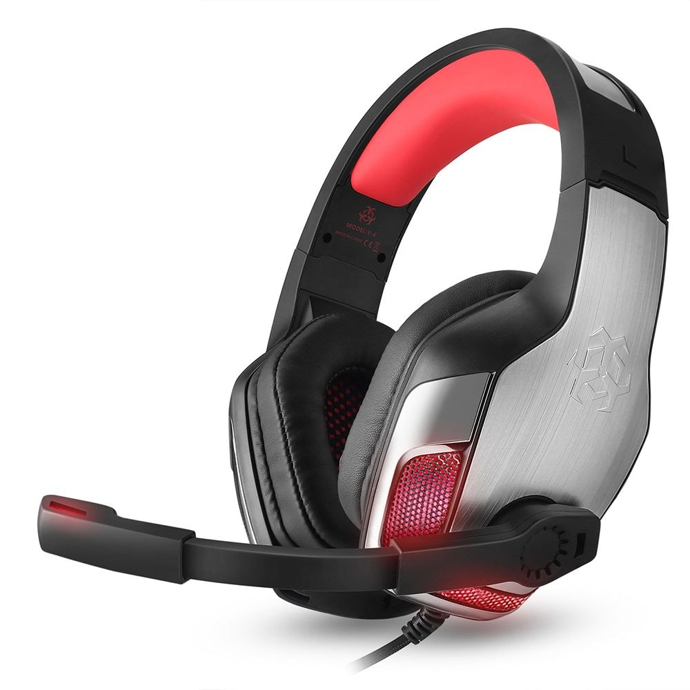 Hunterspider V - 4 3.5mm Headsets Bass Gaming Headphones with Mic LED Light for Mobile Phone PC Xbox PC - 3