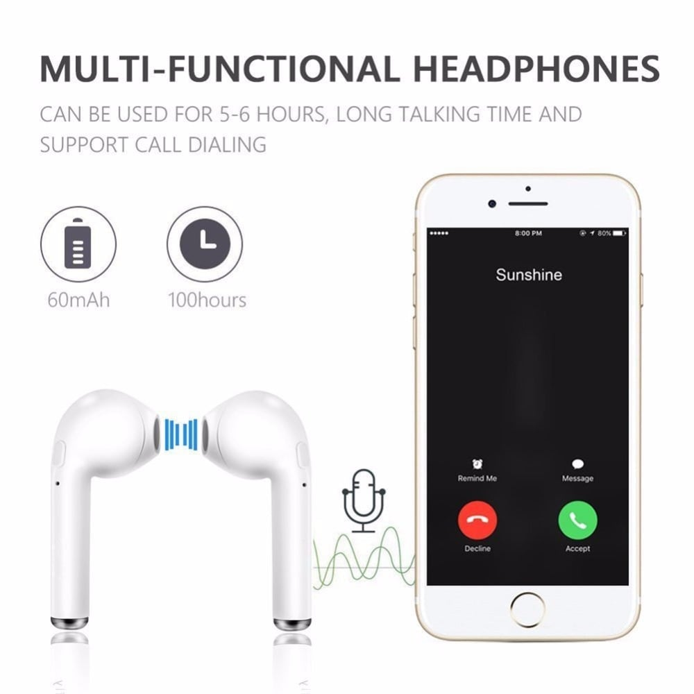 i7s Tws Bluetooth Earphones with Charging Pods for iPhone Xiaomi Huawei Samsung - Black - 5