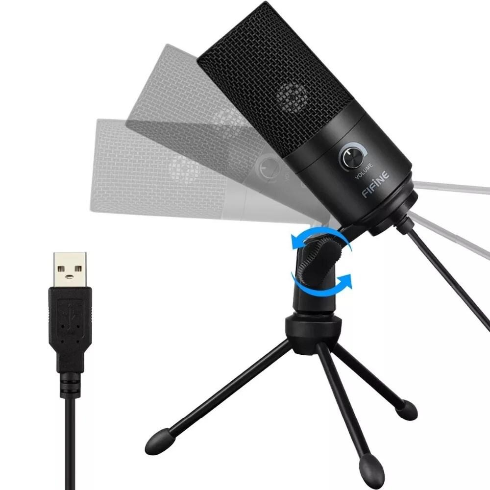 Metal USB Condenser Recording Microphone For Laptop Windows - 3