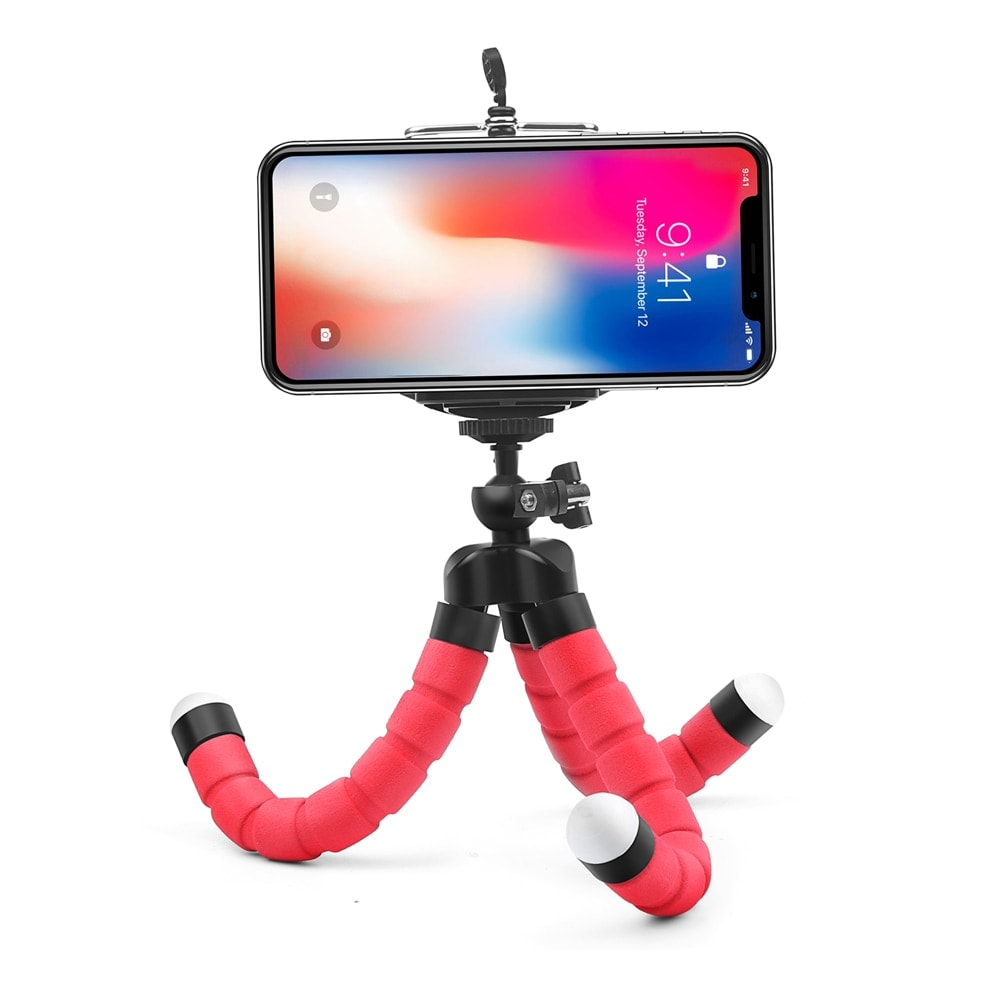 Mini Flexible Octopus Tripod for Smartphones Android and IOS Red - 4