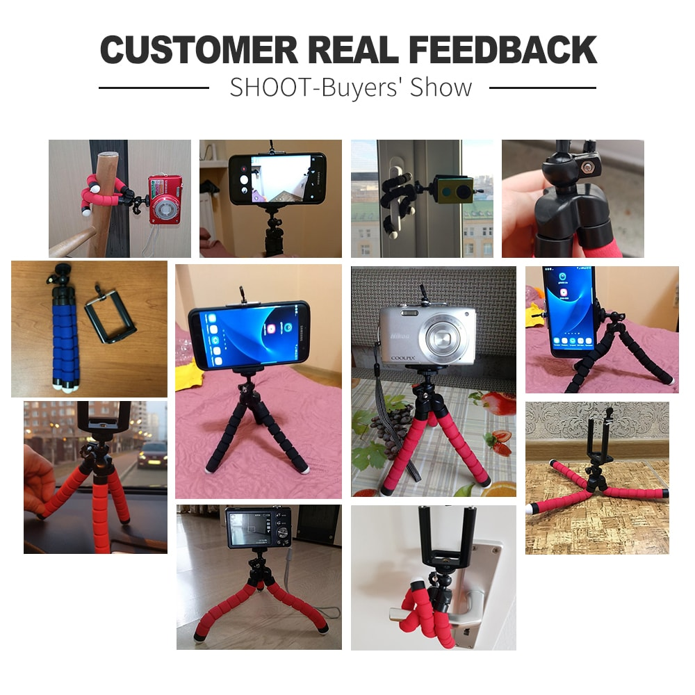 Mini Flexible Octopus Tripod for Smartphones Android and IOS Red - 10