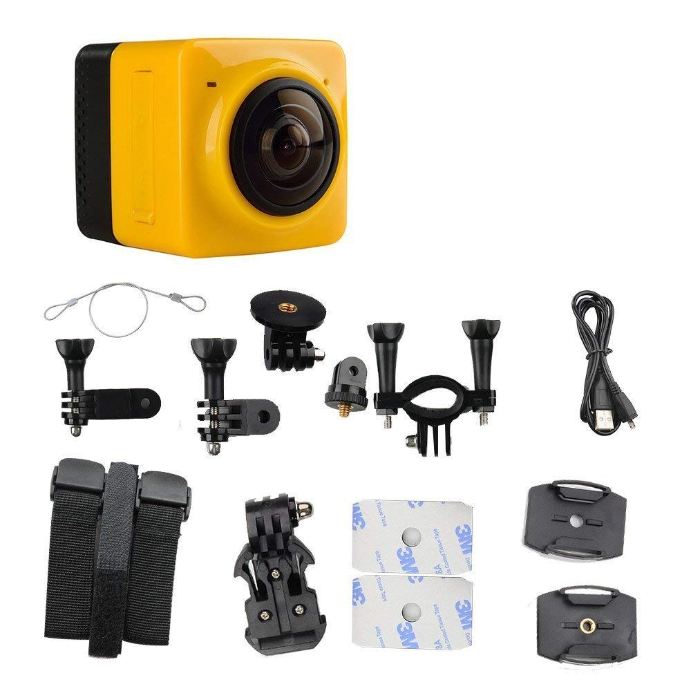 Mini WiFi 360 Degree Panoramic Wide Angle Action Camera Sports Cam Recorder with Standard 1/4 Screw Interface Yellow - 3