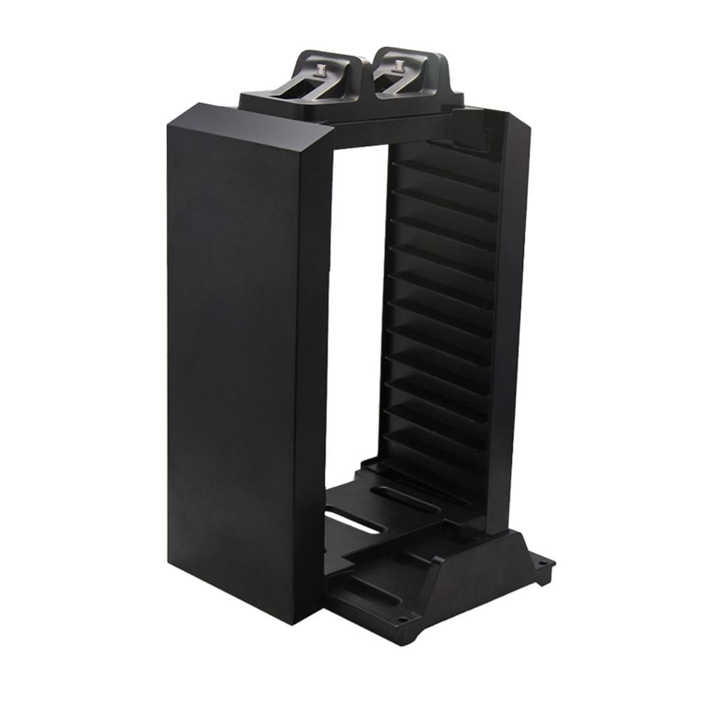Multifunctional Gaming Movie Disks Storage Tower Dual Game Controller Stand Charging Dock Station For PS4 - 3