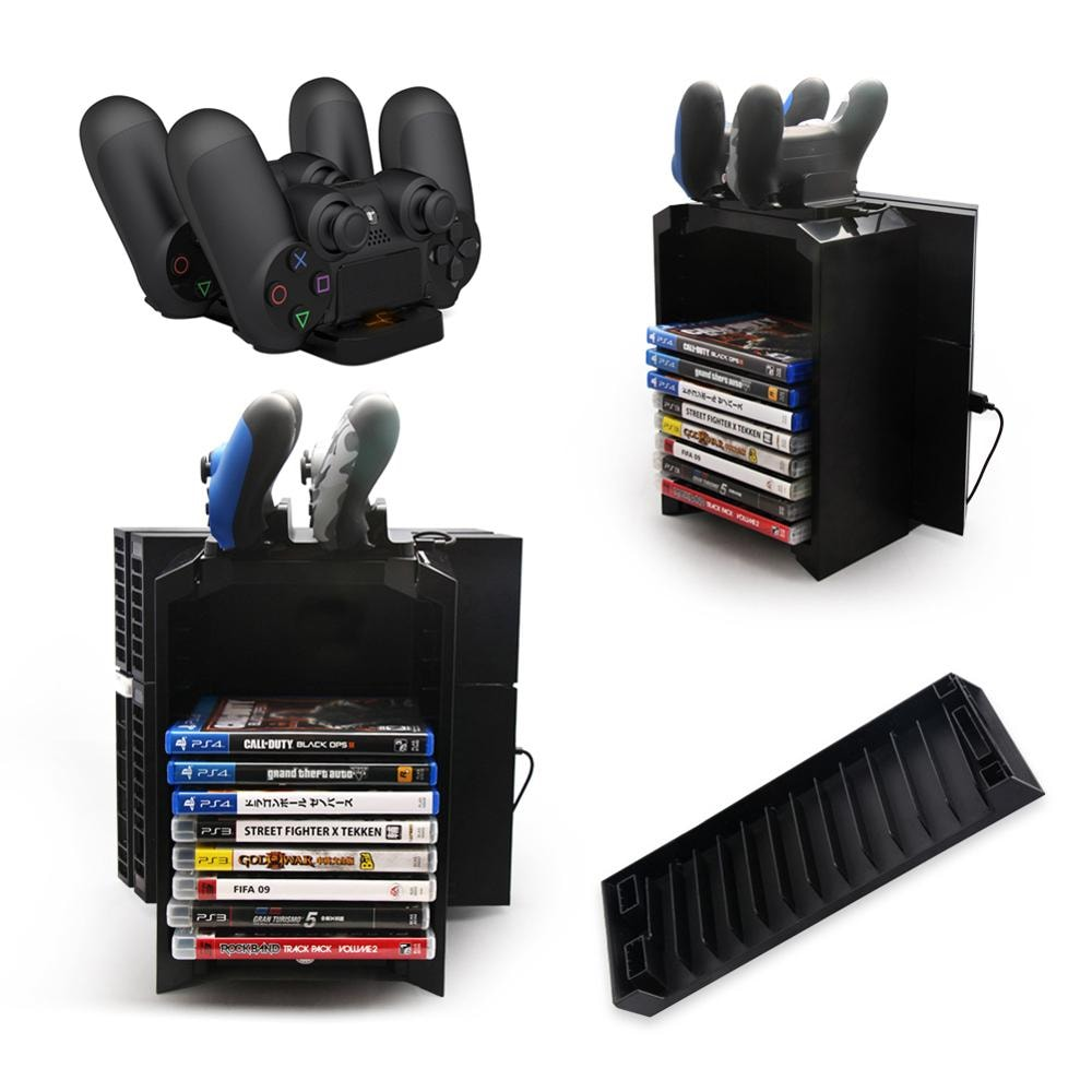 Multifunctional Gaming Movie Disks Storage Tower Dual Game Controller Stand Charging Dock Station For PS4 - 2