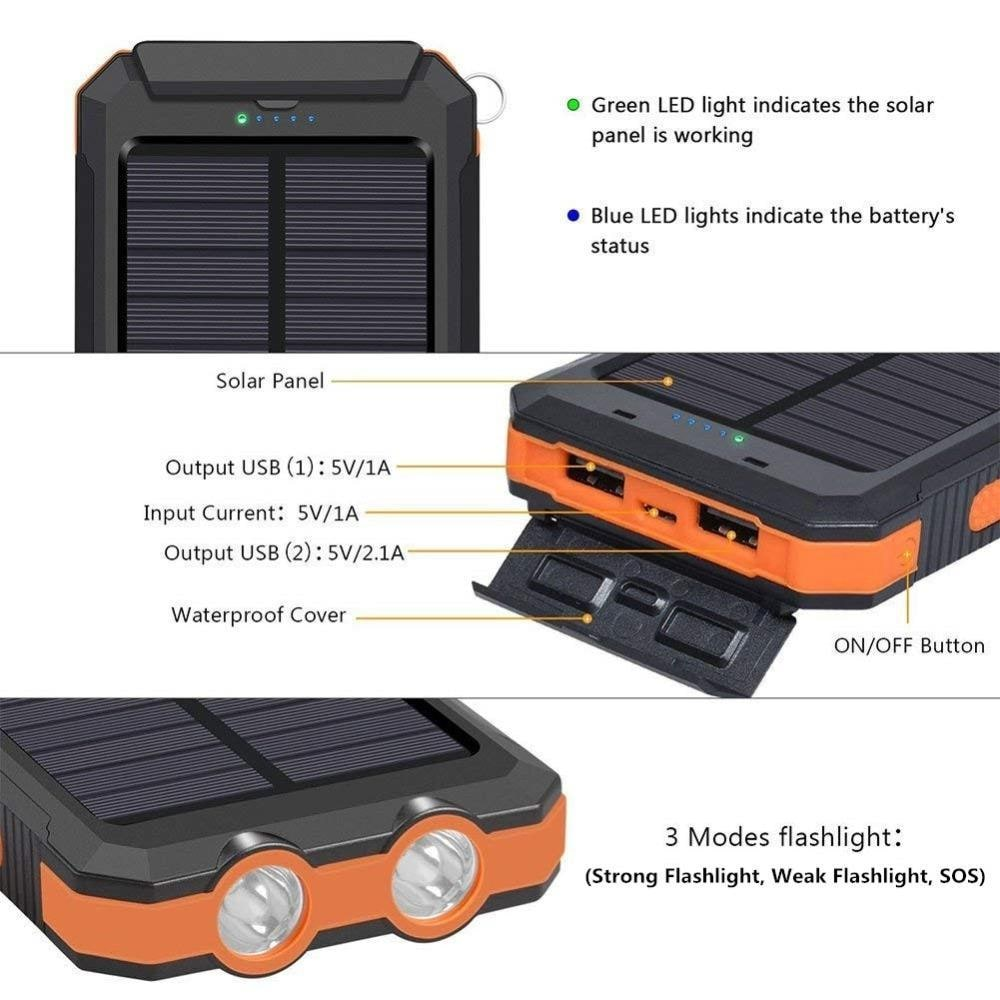 Powerbank Portable Solar External Waterproof Charger With LED Light 2USB - Orange - 4
