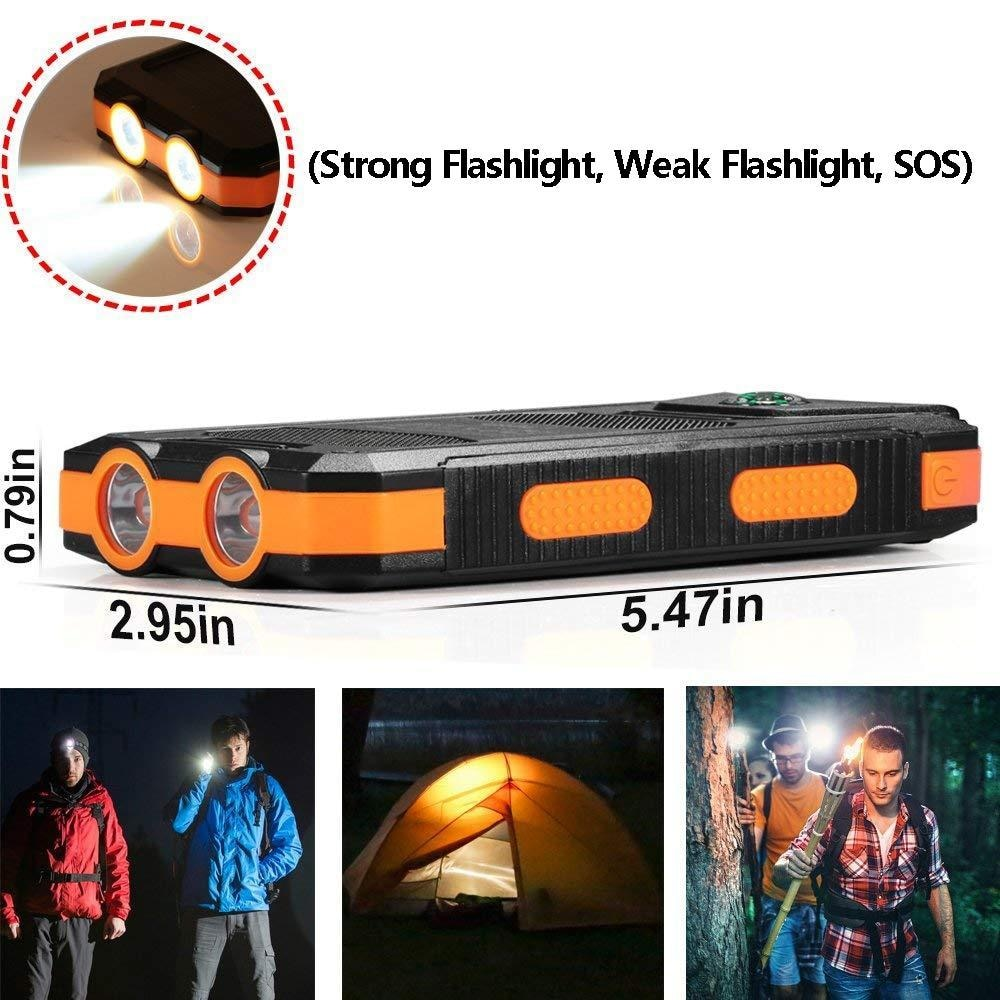 Powerbank Portable Solar External Waterproof Charger With LED Light 2USB - Orange - 3