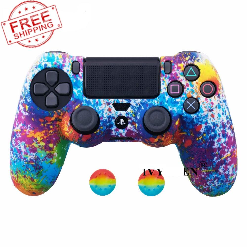 PS4 Controller Silicone Cover plus Thumb Grip Caps - Art Splash - 1