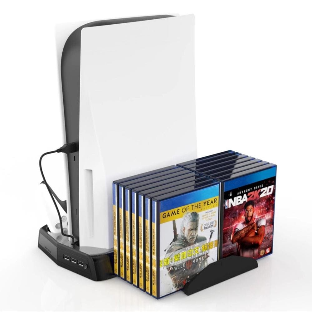 PS5 3in1 multi-function console stand with 2controllers charger holder charging cooling fan and 14 CDs slots Black - 2