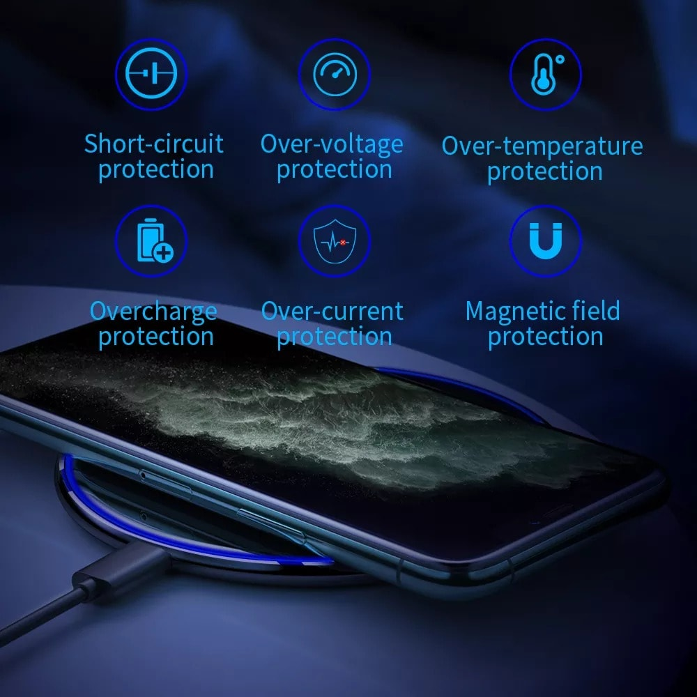 Qi Magnetic Wireless Charger For iPhone 12 11 Pro Xs Max X Black - 5