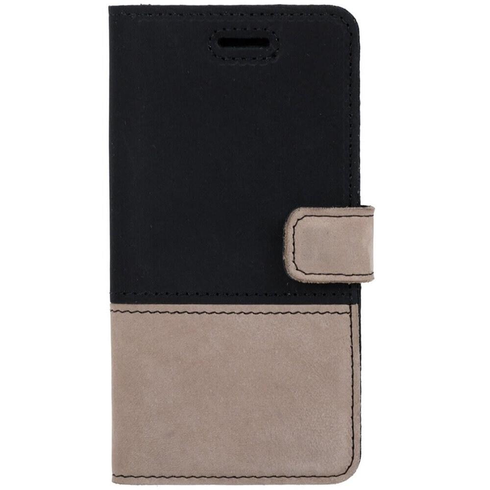 Samsung Galaxy A20e- Surazo® Phone Case Genuine Leather- Black and Beige - 1