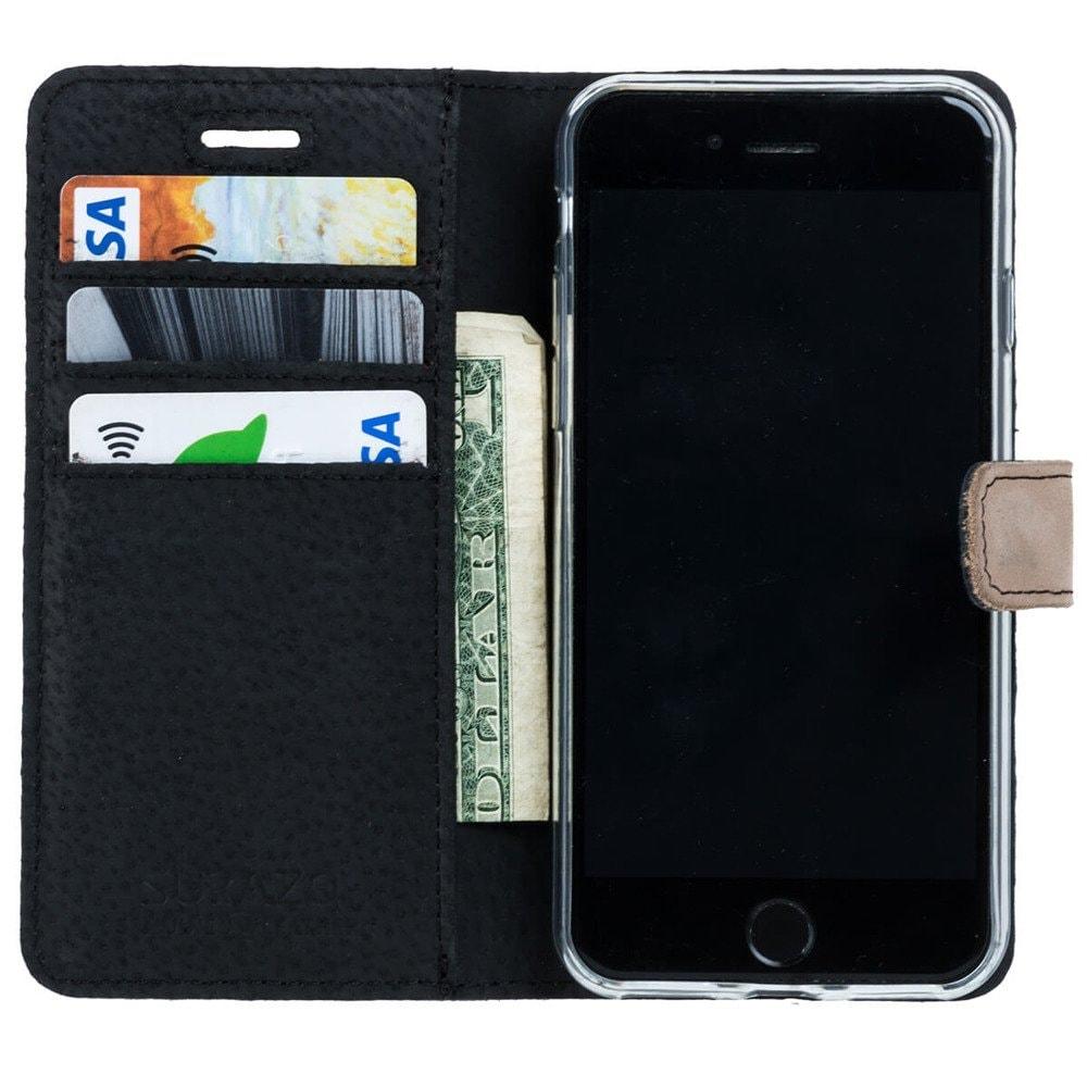 Samsung Galaxy A20e- Surazo® Phone Case Genuine Leather- Black and Beige - 2