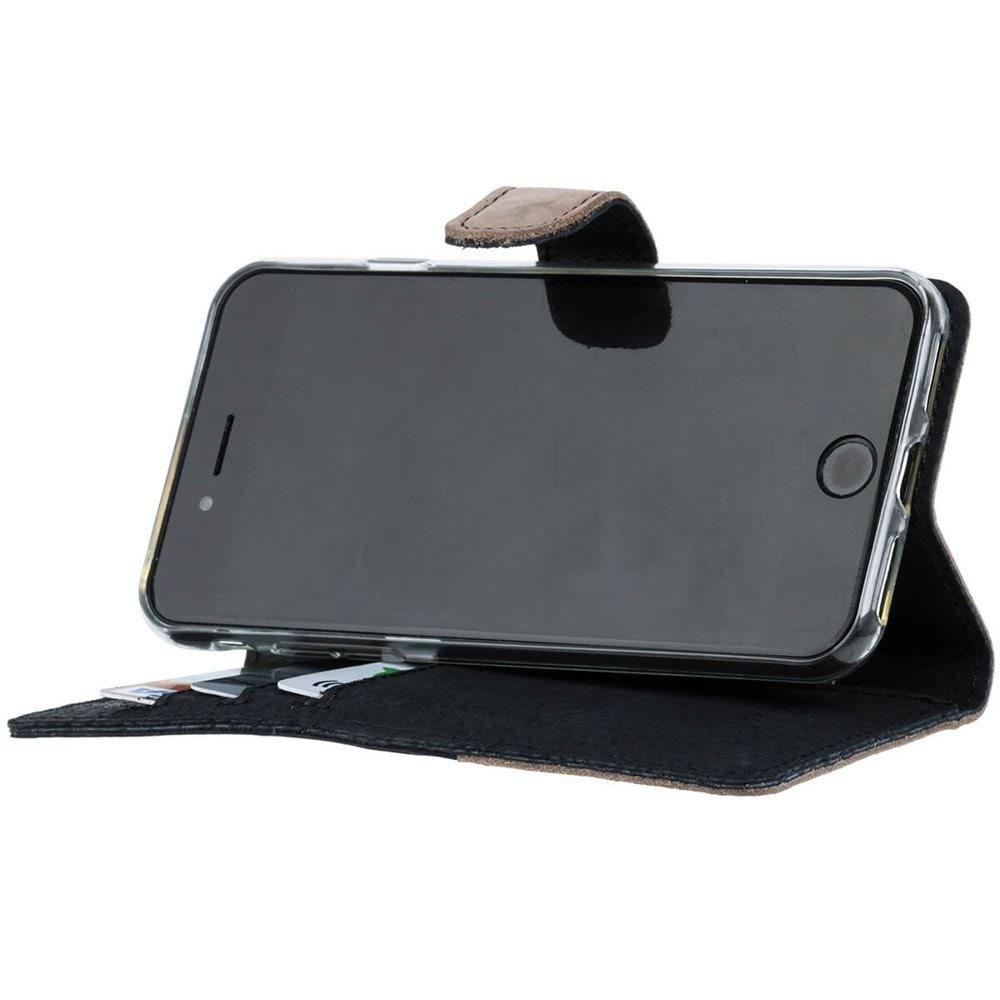 Samsung Galaxy A20e- Surazo® Phone Case Genuine Leather- Black and Beige - 4