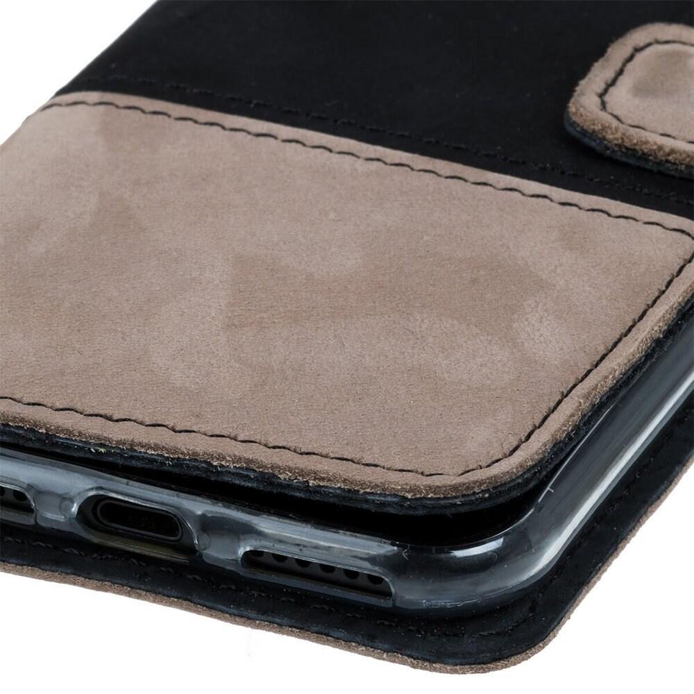 Samsung Galaxy A20e- Surazo® Phone Case Genuine Leather- Black and Beige - 5