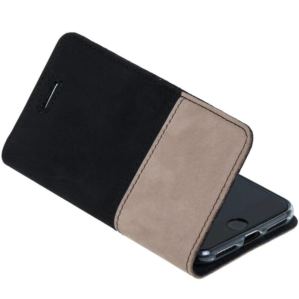Samsung Galaxy A20e- Surazo® Phone Case Genuine Leather- Black and Beige - 6