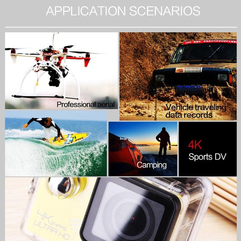 SJ8000 2.0 Inch Sport Action Camera - HD 4K 1080P, Wifi, DV 170 Degree Wide Angle Lens, 30M Waterproof, Remote Yellow - 6