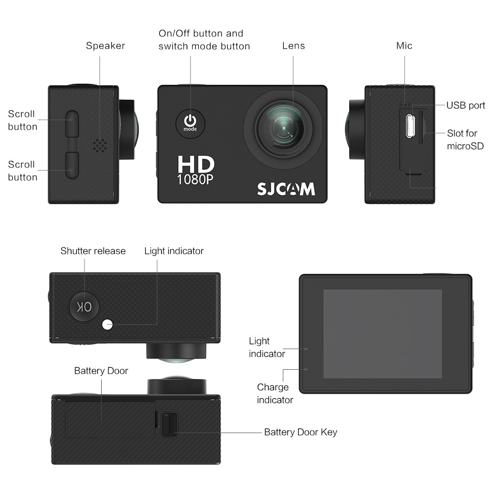 SJCAM SJ4000 12MP Action Camera Underwater Camera Sport Camcorder Red - 7