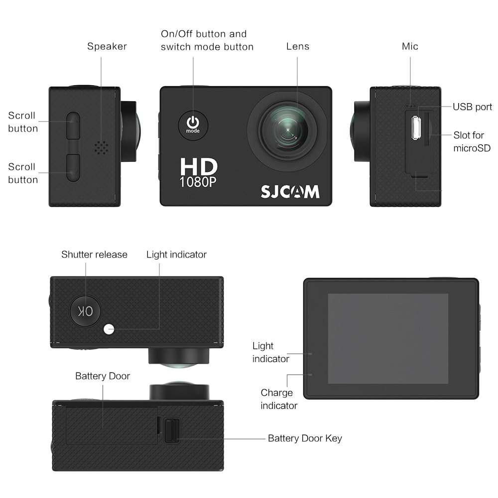 SJCAM SJ4000 WIFI Action Camera FHD1080P waterproof Underwater Camera 12MP Sports Camcorder  White - 8