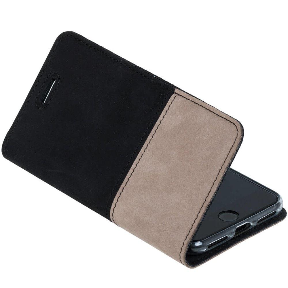 Sony Xperia 10- Surazo® Phone Case Genuine Leather- Black and Beige - 6
