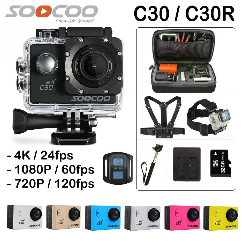 SOOCOO C30R Wifi 4K Sports Action Camera - Gyro 2.0 inch, LCD Screen, 30M Waterproof, Adjustable Angle Pink - 1