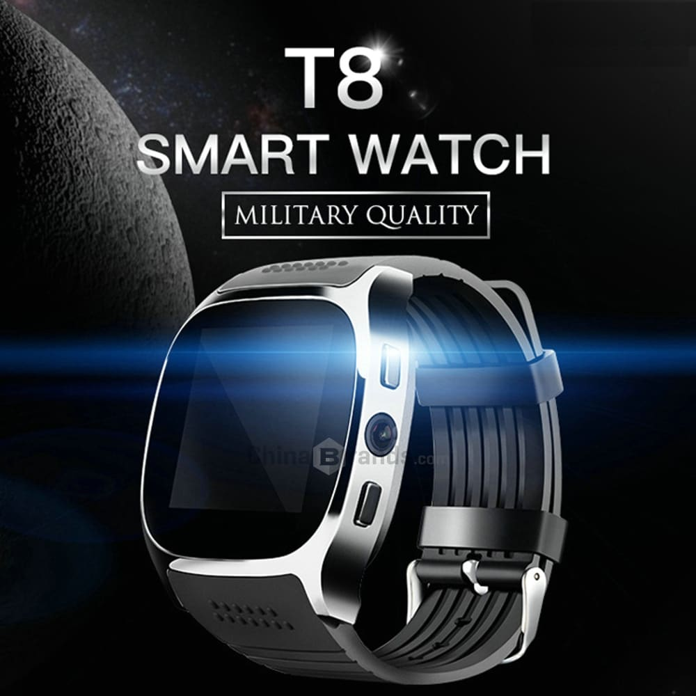 T8 Bluetooth Smart Watch Phone Mate SIM FM Pedometer for Android IOS iPhone Samsung Black - 1