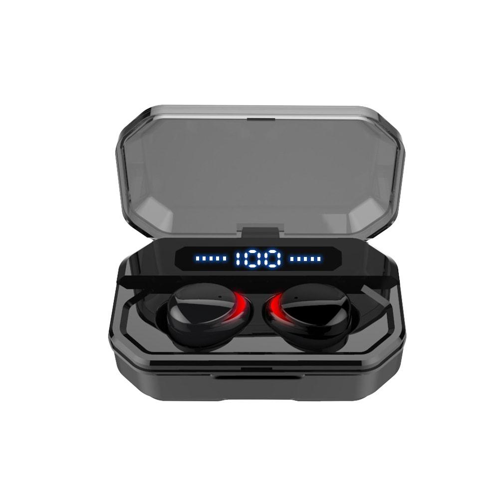TWS Bluetooth 5.0 Wireless Earphones With 3500mAh Charging Case - Black - 1