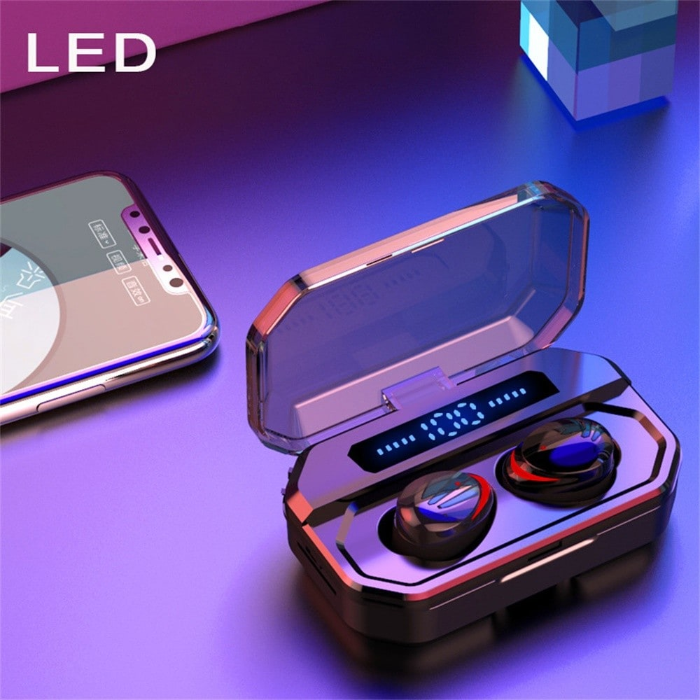 TWS Bluetooth 5.0 Wireless Earphones With 3500mAh Charging Case - Black - 3