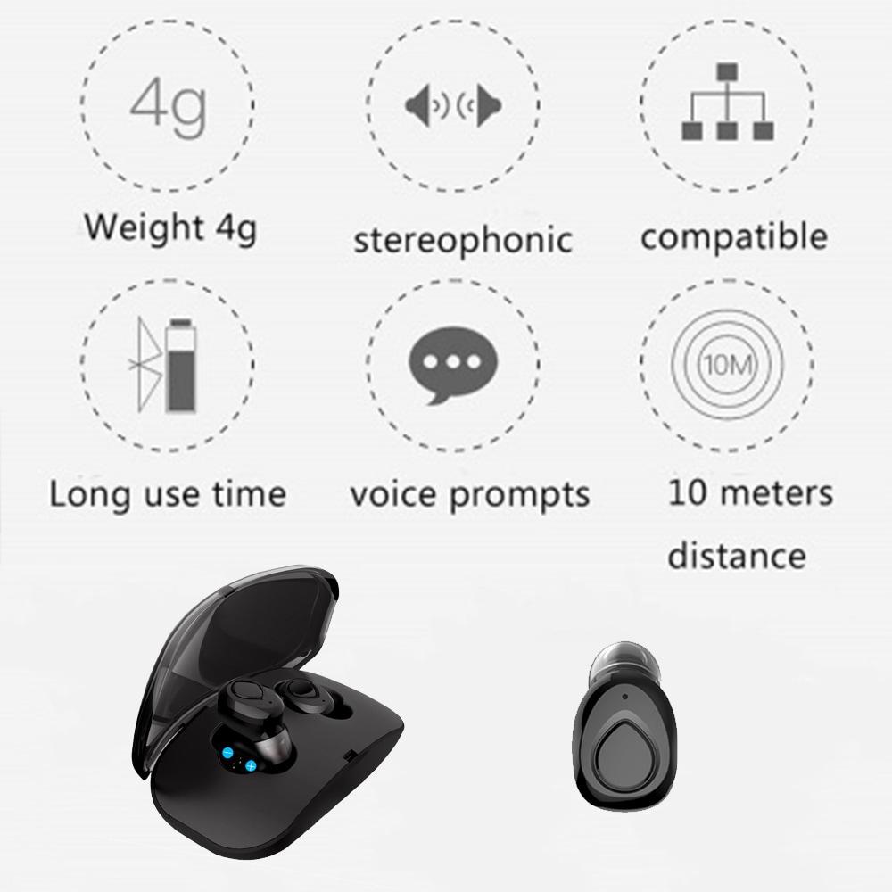 TWS X18s Wireless Headset - Bluetooth Stereo Sound Earphones Sweatproof Headphones Build-in Mic Earbuds Black N/A - 6