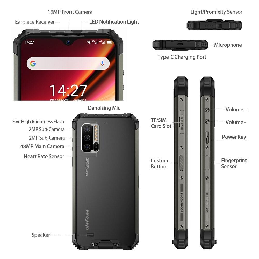 Ulefone Armor 7 Rugged Phone 48MP Camera 8GB+128GB (Black) - 3