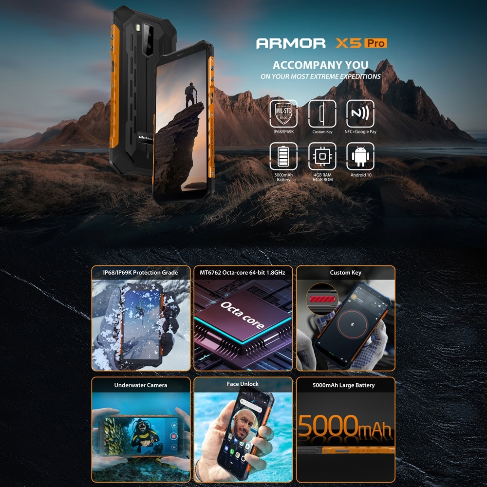 Ulefone Armor X5 Pro Rugged Phone 4GB+64GB (Black) - 3