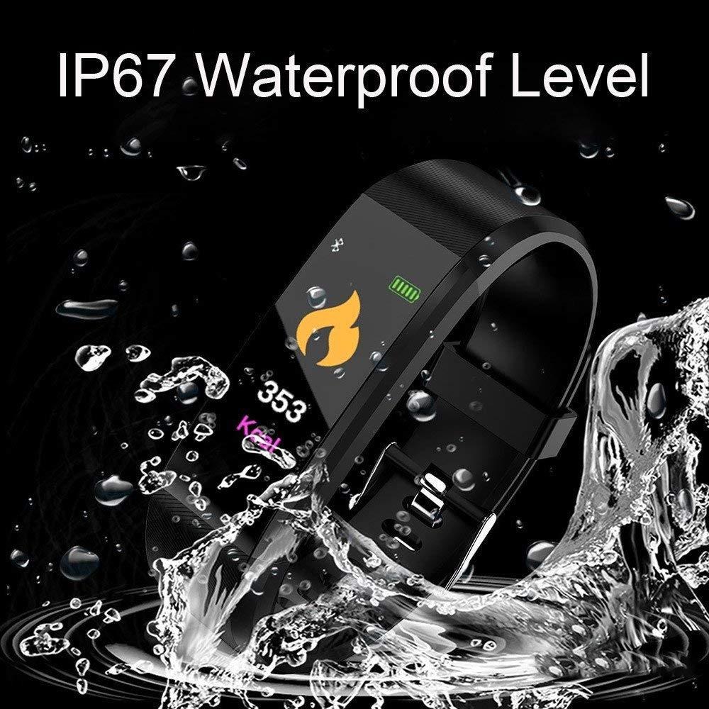 Waterproof Bluetooth Smart Watch - Heart Rate Blood Pressure Monitor Fitness Tracker Bracelet in Black - 3