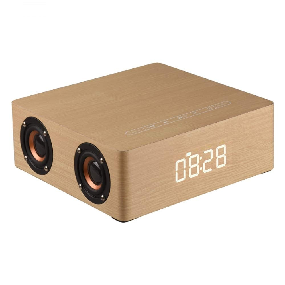Wolfsay Wooden Bluetooth Alarm Clock Speaker 3600mAh Battery Support Audio Input TF Card/U-disk Play - 4