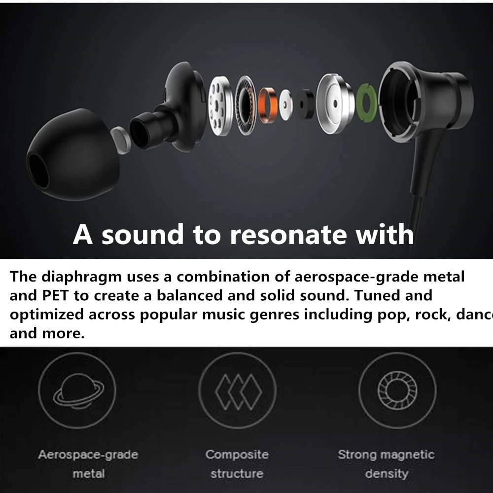 Xiaomi 3.5mm Earphones - Noise Cancellation, TPE Resilience Cable, Hybrid Triple Drivers Technology - 3