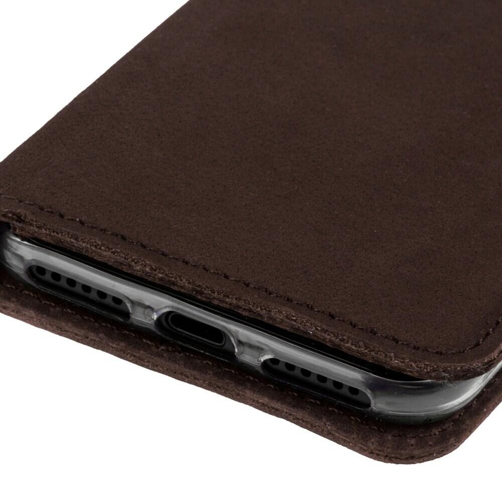 Xiaomi Redmi 6A- Surazo® Phone Case Genuine Leather- Nubuck Brown - 5