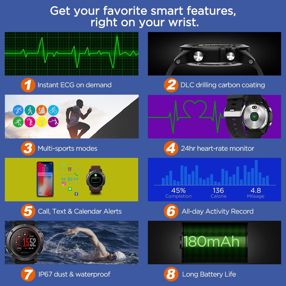 Zeblaze VIBE3 ECG Smart Watch Men Sport Waterproof Electrocardiogram Sleep Monitoring Fitness Tracker Blue CHINA - 7
