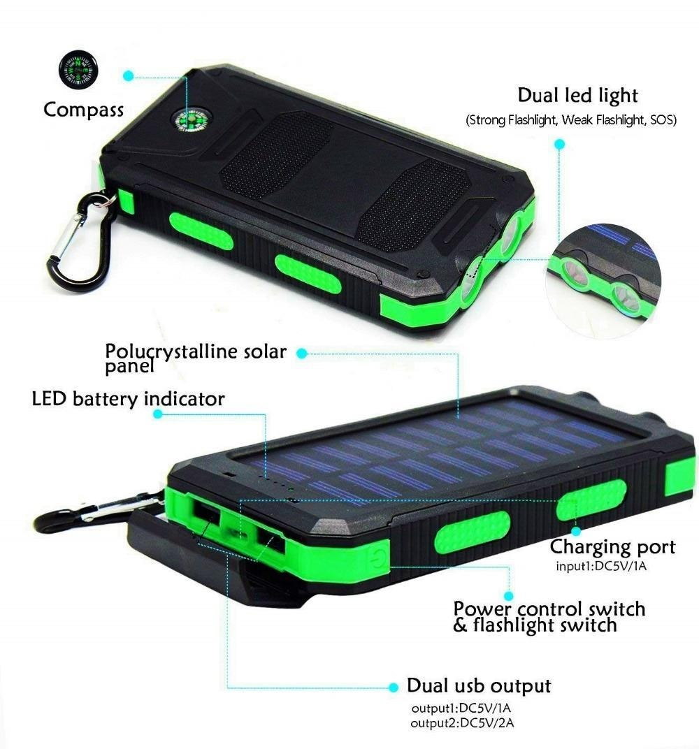 Powerbank Portable Solar External Waterproof Charger With LED Light 2USB - Blue - 2