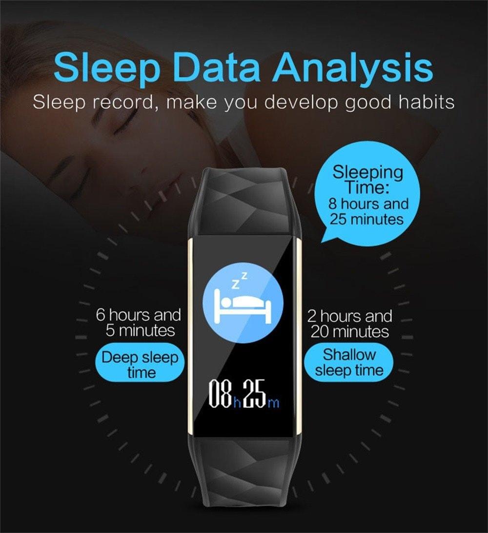 Black Smart Watch Bracelet T20 - Waterproof, Colorful Screen, Heart Rate Blood Pressure - 6